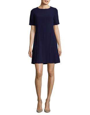 Short Sleeve Pleated Flare Dress by Tahari Arthur S. Levine