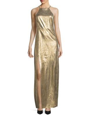 Metallic Suede Halter Gown by H Halston