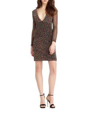 Beaded V-Neck Dress by ML Monique Lhuillier