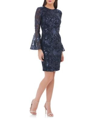 Bell Sleeve Sheath Dress by Carmen Marc Valvo Infusion