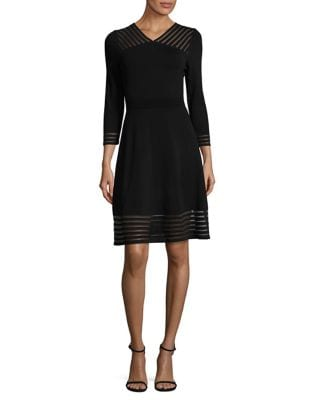 Sheer Detail Fit-&-Flare Dress by Calvin Klein
