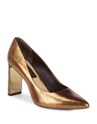 Criss Point Toe Leather Pumps by Donna Karan