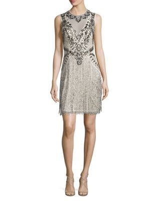 Sleeveless Beaded Fringe Dress by Aidan Aidan Mattox