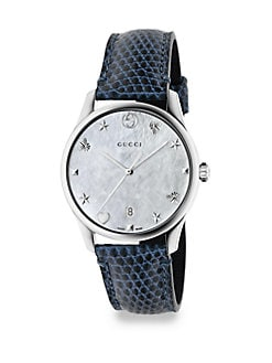 09be3775097 Product image. QUICK VIEW. Gucci. G-Timeless Stainless Steel Leather Lizard Strap  Watch
