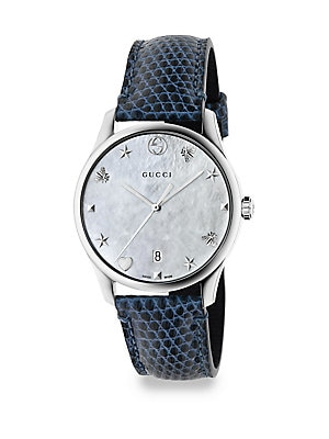 39f33de1278 Gucci - G-Timeless Signature GG Leather Strap Watch - lordandtaylor.com