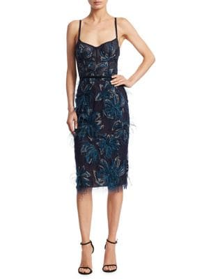 Embroidered Feather Knee-Length Dress by Marchesa Notte