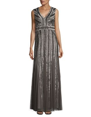 Sleeveless Sequin-Embellished Gown by Adrianna Papell