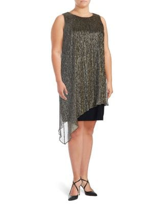 Plus Asymmetric Shift Dress by Tahari Arthur S. Levine