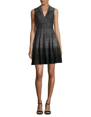 Fit-&-Flare V-Neck Dress by Alex Evenings