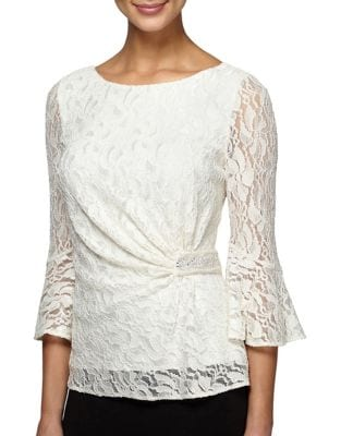 Plus Floral Lace Blouse by Alex Evenings