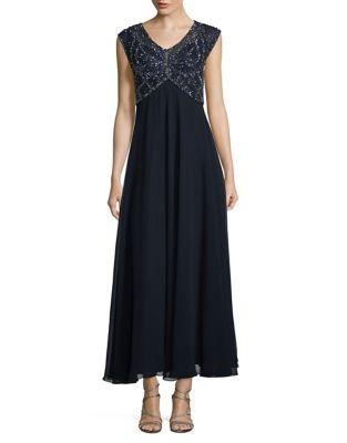 Petite Cap Sleeve Sequin A-Line Gown by J Kara