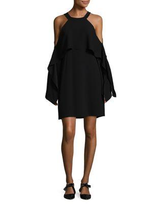 Draped Cold-Shoulder Shift Dress by BCBGMAXAZRIA