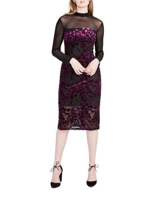 Long-Sleeve Velvet Sheath Dress by RACHEL Rachel Roy