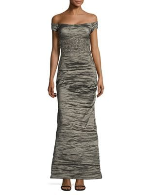 Ruched Off-The-Shoulder Gown by Alex Evenings