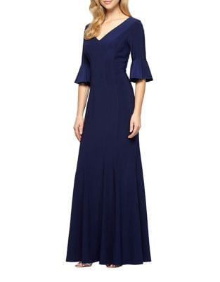 Bell Sleeve Fit-&-Flare Gown by Alex Evenings