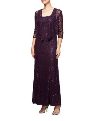 Sequined Lace Evening Gown with Cardigan by Alex Evenings