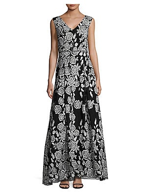 J Kara Sequined Floor Length Dress Lordandtaylor