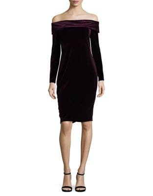 Velvet Off-The-Shoulder Dress by Calvin Klein