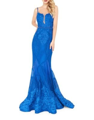 Floral Lace Mermaid Gown by Mac Duggal