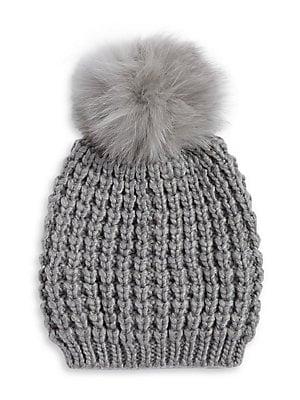 Lord   Taylor - Fox Fur Pom Pom Beanie - lordandtaylor.com d2a34d03944