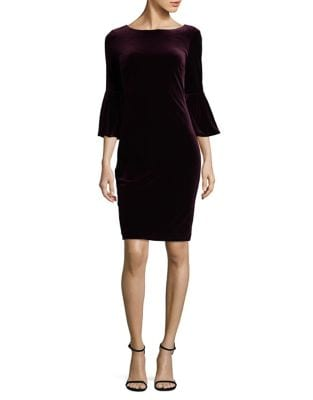 Bell-Sleeve Velvet Sheath Dress by Calvin Klein