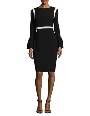 Bell-Sleeve Contrast Sheath Dress by Calvin Klein