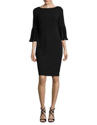 Three-Quarter Sleeve Crepe Sheath Dress by Calvin Klein