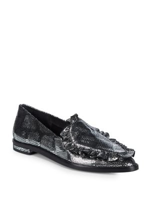 Cecelia New York PEPPER LEATHER FRILLED LOAFERS