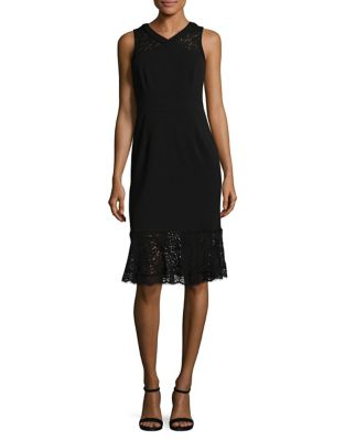 Ottoman Lace Sheath Dress by Adrianna Papell