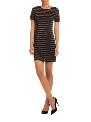 Metallic Striped Short-Sleeved Sweater Dress by Trina By Trina Turk