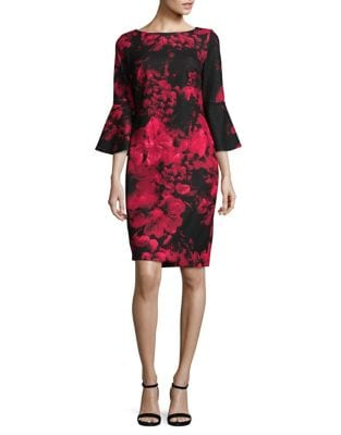 Floral Bell-Sleeve Sheath Dress by Calvin Klein