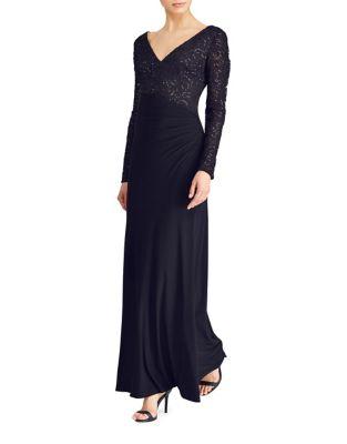 Sequined Long Sleeve Gown by Lauren Ralph Lauren