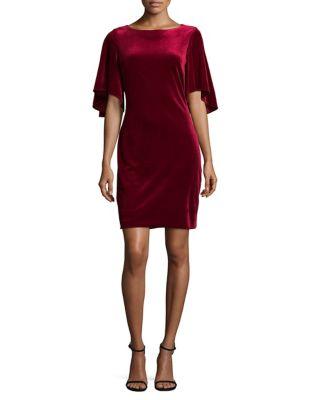 Flutter Sleeve Velvet Mini Dress by Belle Badgley Mischka