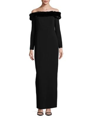 Faux Fur-Trimmed Column Gown by Calvin Klein