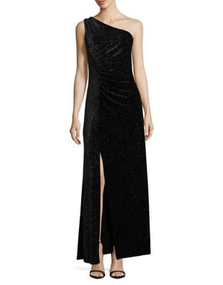 One-Shoulder Sparkling Velvet Gown 500087592909