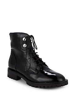 75ef0580895a Francesca Leather Combat Boots BLACK. QUICK VIEW. Product image