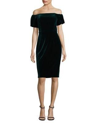Off-the-Shoulder Velvet Sheath Dress by Betsy & Adam