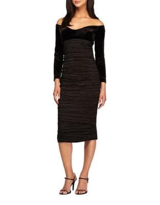 Off-The-Shoulder Velvet Sheath Dress by Alex Evenings