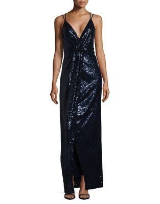Sequin Slip Gown by H Halston