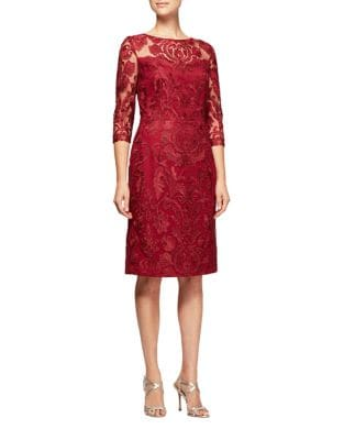 Embroidery Shift Dress by Alex Evenings