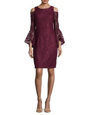 Photo of Floral Lace Cold-Shoulder Dress by Xscape - shop Xscape dresses sales