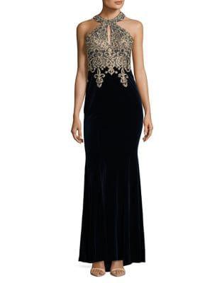 Photo of Xscape Beaded Velvet Halter Gown