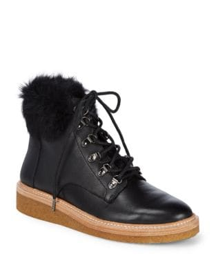 Rabbit Fur and Leather Boots by Botkier New York