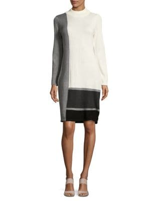 Long Sleeve Colorblocked Sweater Dress by Calvin Klein