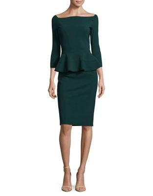 Three-Quarter Sleeve Peplum Dress by Chiara Boni La Petite Robe