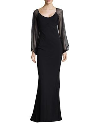 Sheer Sleeve Column Gown by Chiara Boni La Petite Robe