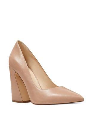 Henra Leather Block Heel Pumps by Nine West