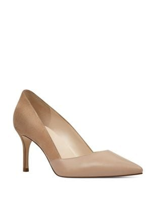 Mine Suede and Leather Mid-Heel Pumps by Nine West