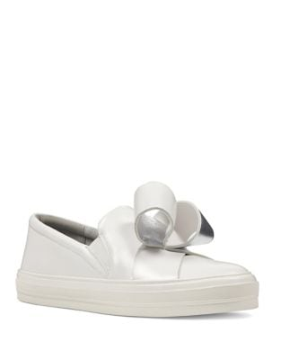 Odienella Bow-Accent Leather Sneakers by Nine West