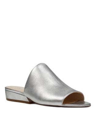 Lynneah Metallic Leather Slide Sandals by Nine West